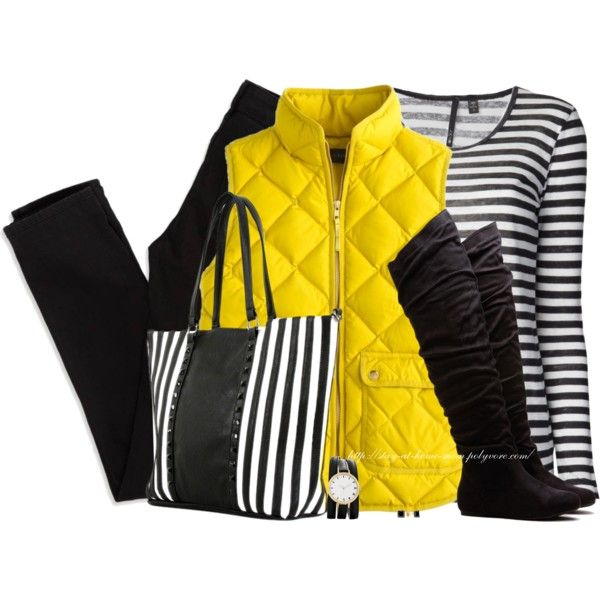 Quilted Yellow Vest by stay-at-home-mom on Polyvore featuring Joe's Jeans, American Eagle Outfitters and Chicnova Fashion