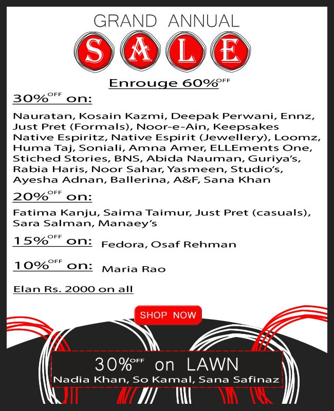 GRAND ANNUAL SALE #Islamabad #Fashion #Clothing #Sale #Discount
