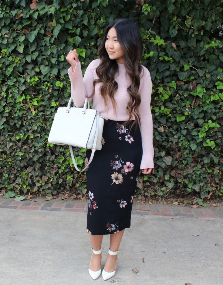 Who What Wear Black Floral Midi Pencil Skirt, Pink Bell Sleeve Sweater , white ankle strap pumps for today's modest church outfit.  LDS Blogger, Mormon, Sunday Best, Modest Outfit, Church look