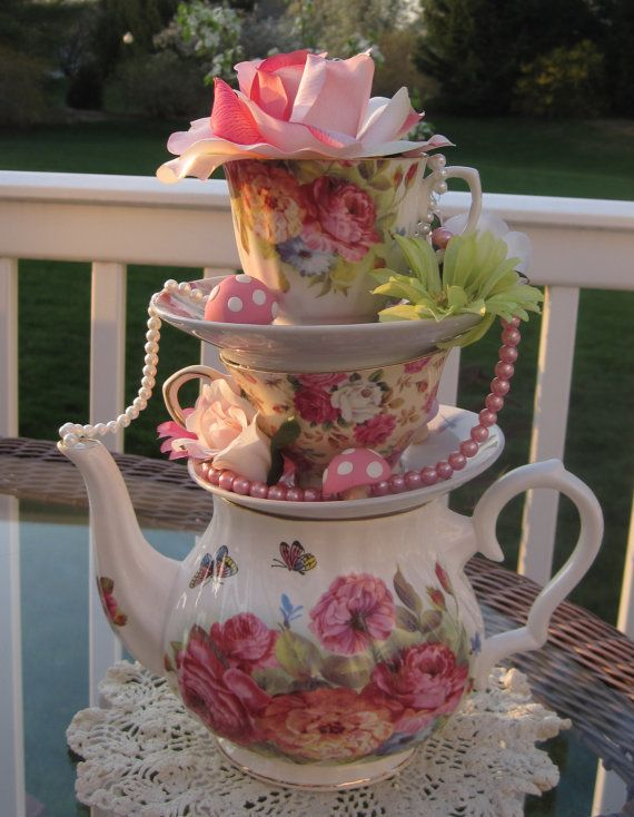 Stacked Floral Teapot/Teacup Centerpiece by EdieSChicCrafts