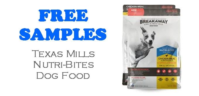 FREE SAMPLE of Texas Mills Dog Food called Nutri-Bites. This free dog food sample is FREE + FREE SHIPPING! Texas Mills makes freeze dried dog food that...