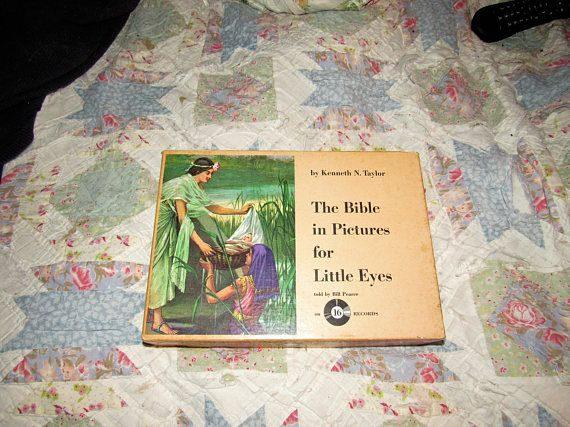 The Bible in Pictures for Little Eyes with HC Book and 16 33 1/3  Records Kenneth Taylor Moody Press