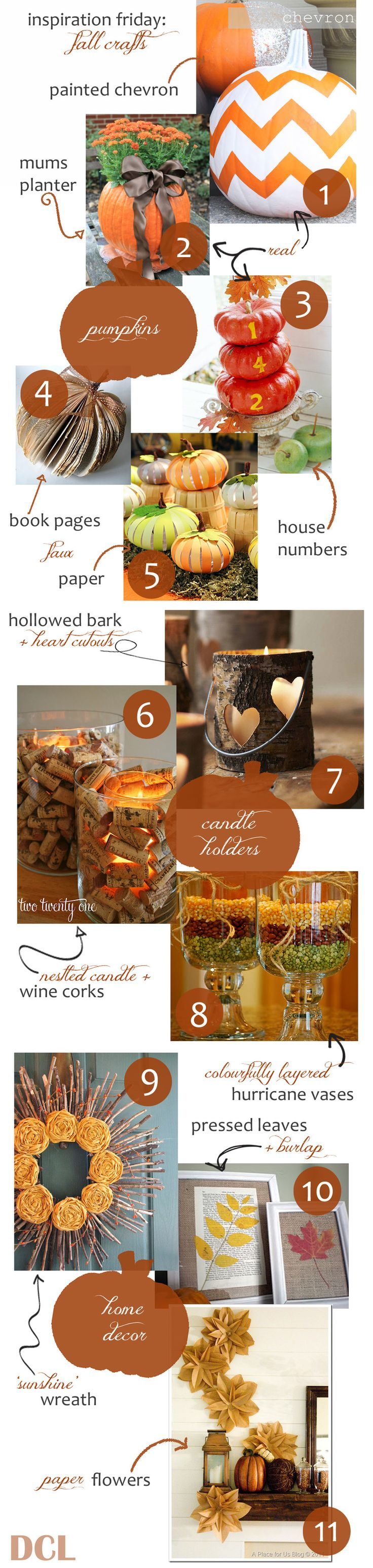 Inspiration Friday: Fall Crafts Ideas! #1 and #7 are now on my MUST DO list!!! Ahhh I can't WAIT for fall now!! :)