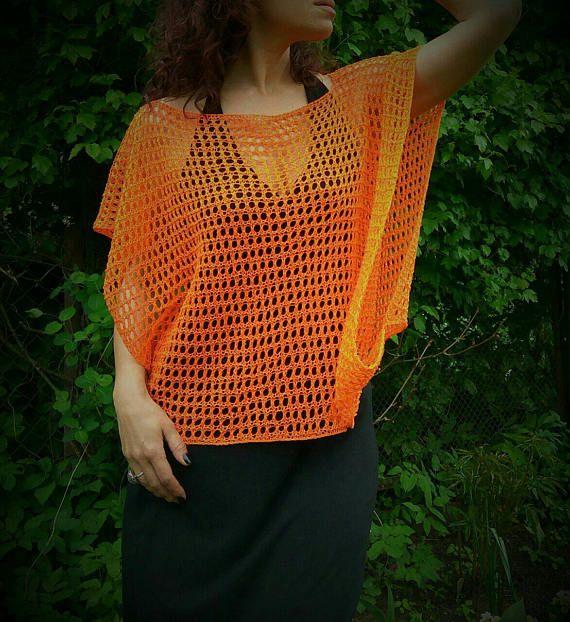 Orange Linen Poncho Summer Poncho Handknitted Poncho Loose