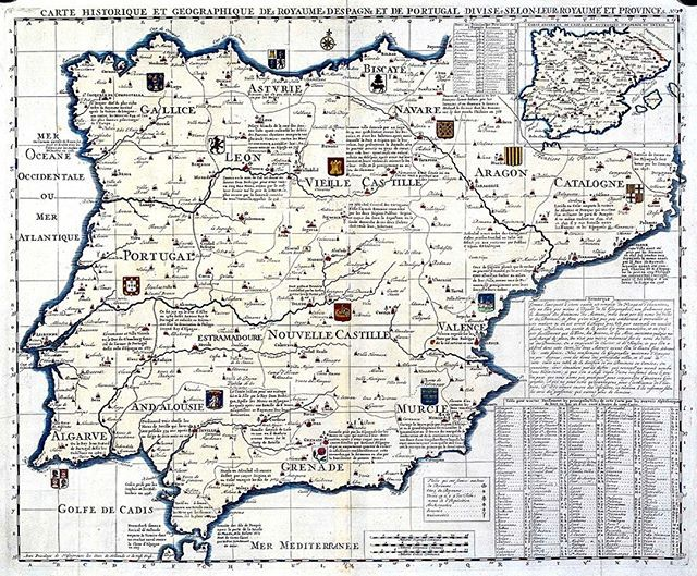 "This detailed map from the Iberian peninsula dates from the early 18th century. You can appreciate Spain and Portugal Kingdoms divisions and the most relevant coats of arms recent battles most important historical events... A beautiful cartographical delicacy... ""Carte Historique et Geographique de Royaumes d'Espagne et de Portugal divises selon leurs Royaumes et Provinces"""
