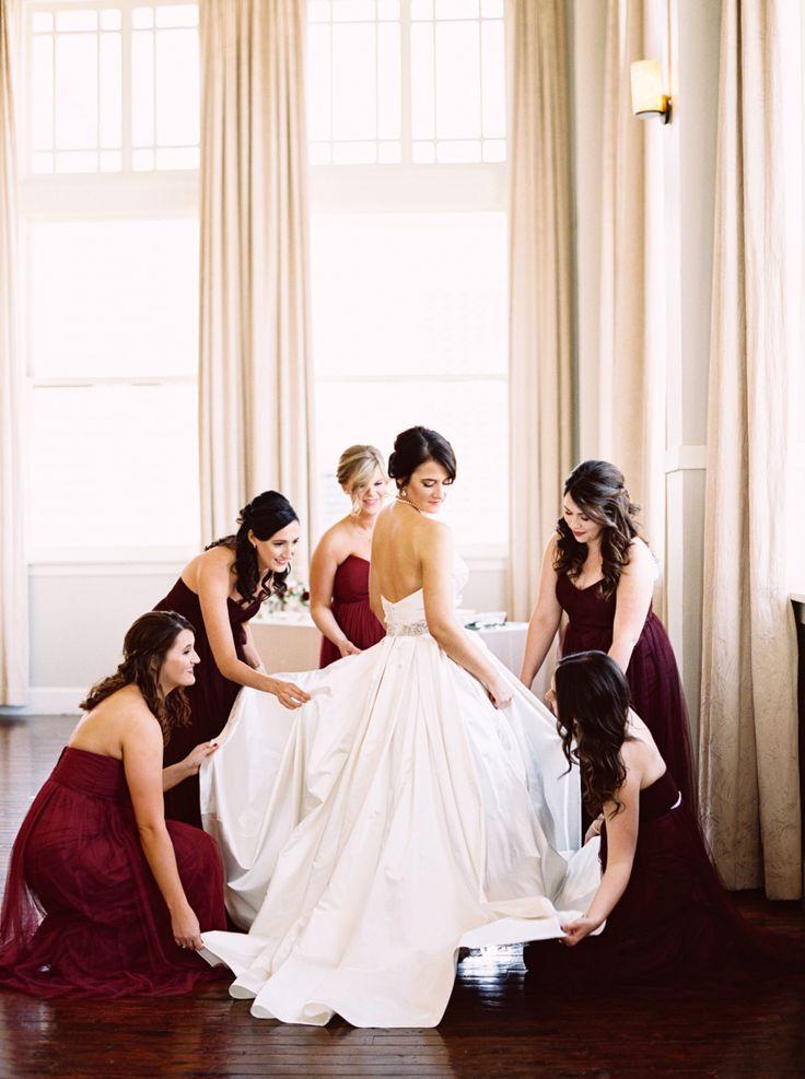 Classic burgundy ballroom wedding: Photography : Stephanie Brazzle Photography Read More on SMP: http://www.stylemepretty.com/little-black-book-blog/2016/02/25/classic-elegant-fall-dallas-wedding/