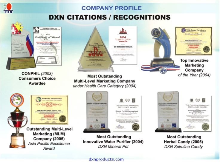 These certificates are the proof of quality: http://dxnproducts.com/