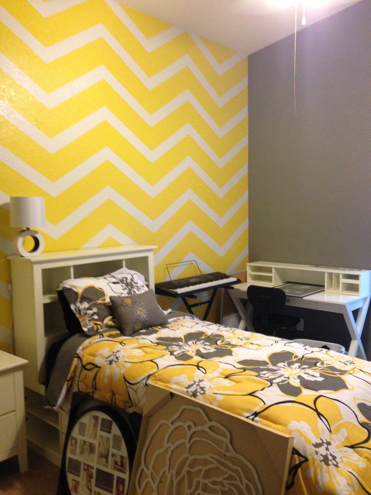 Yellow and gray bedroom. :)