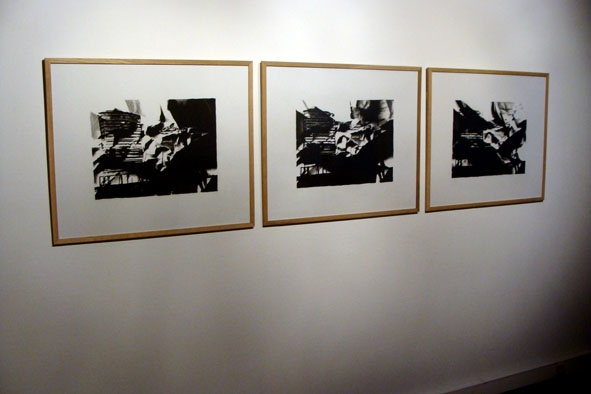David Leleu, Exhibition view, 3 drawings on frames, 2011. Jozsa Gallery, Brussels.