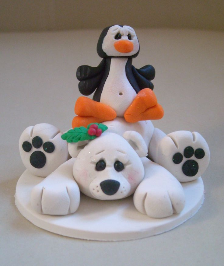 Fimo Polar Bear & Penguin photo/place setting Holder