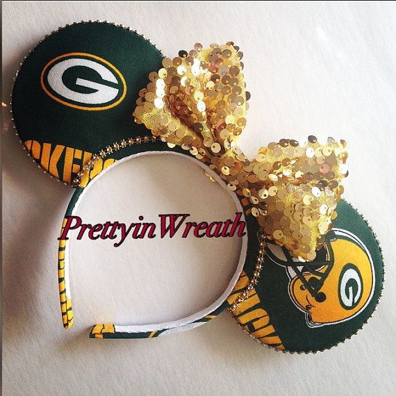 Green Bay Packers inspired Mickey Mouse ears by PrettyinWreath