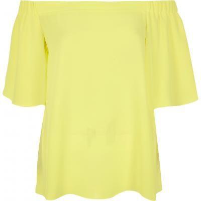 yellow bardot top