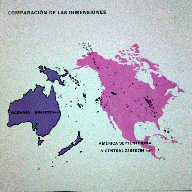 Area of Oceania compared to North America.  Source: Atlas geográfico universal Oceano, edición 1997
