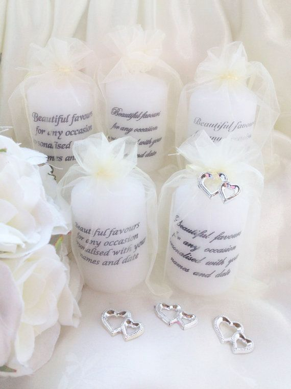 Wedding Favours, Personalised Candles With Silver Heart Charm, Many Bag Colours Available