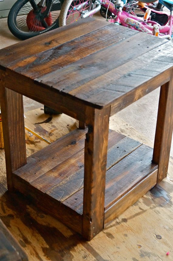 Rustic Handmade End Side Table by RemadeAmerica on Etsy, $150.00