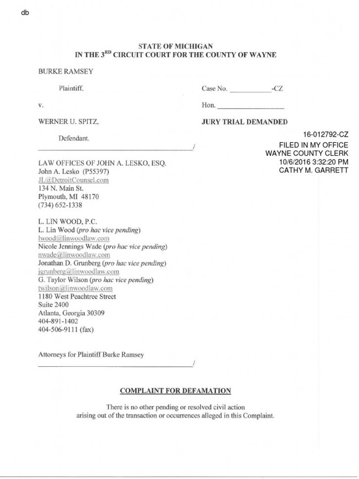 Burke Ramsey vs. Werner Spitz. Filed 10/6/2016