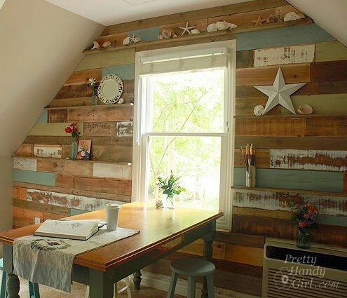 A rustic wall using old wood pallets.