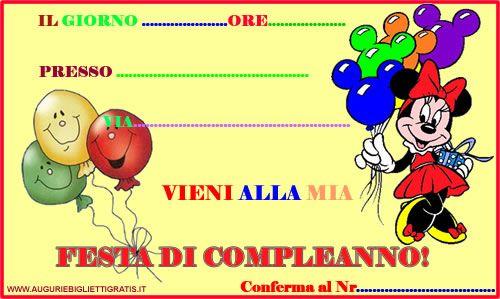 inviti di compleanno minnie