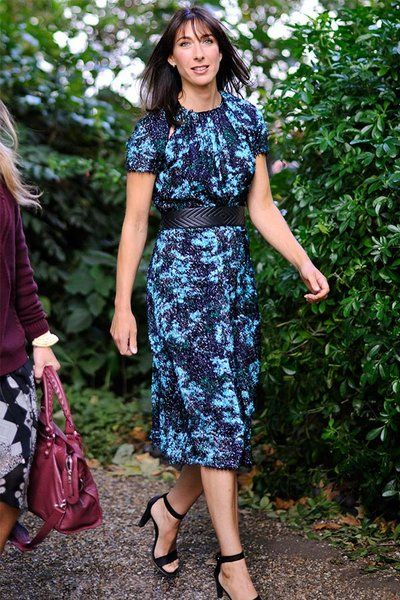 First lady of the United Kingdom and 2015 BDL honoree wore this belted dress from British designer, Michael Van Der Ham to London Fashion Week.