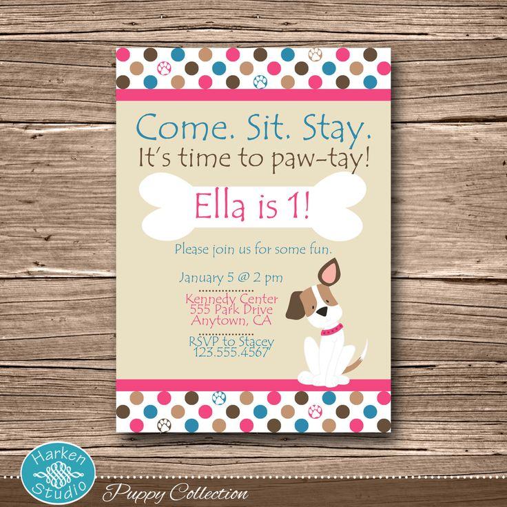 Pink Puppy Birthday Party Invitation, Printable Puppy Birthday Invite, Dog, DIY, Digital, Personalized, Pink, Blue, Girl Puppy, Polka Dot by HarkenStudio on Etsy https://www.etsy.com/listing/174954412/pink-puppy-birthday-party-invitation
