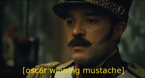 """""""The Real Les Mis Captions"""" Hadley Fraser's mustache deserves all the awards."""