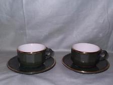 2 apilco petite cups & saucers vert foncé Bistro ware