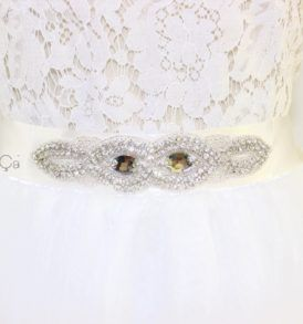 Anne White Jeweled Bridal Sash (1)