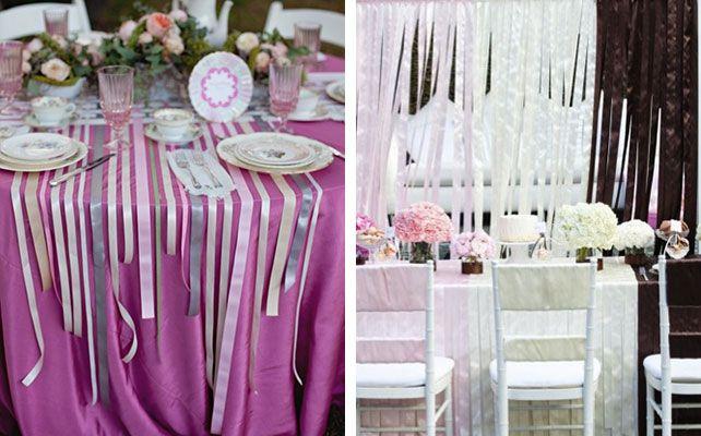 декор свадьбы лентами, место банкета, стол