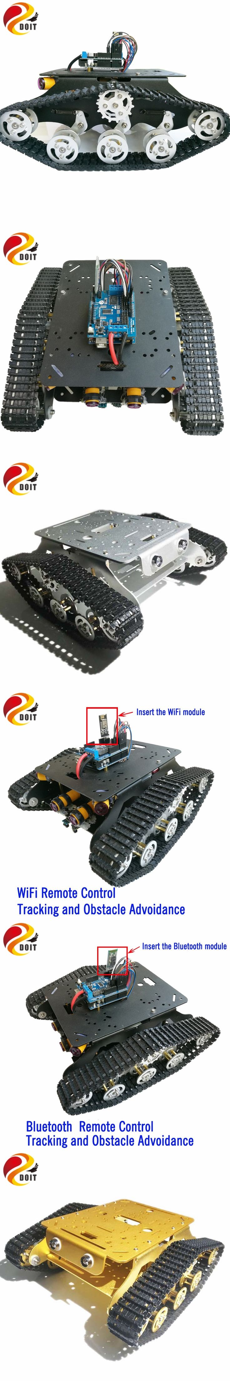 Official DOIT TSD300 Arduino Bluetooth/WiFi Control Crawler Tank Car Chassis with Tracking and Obstacle Avoidance RC Remote Toy
