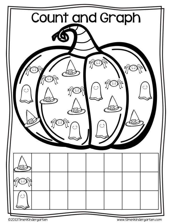 Halloween- October themed math for kindergarten. Number writing, graphing, counting and more