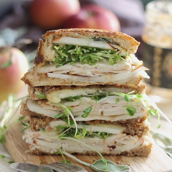 Turkey Cheddar Apple Butter Panini. A pressed, melty bite of fall!