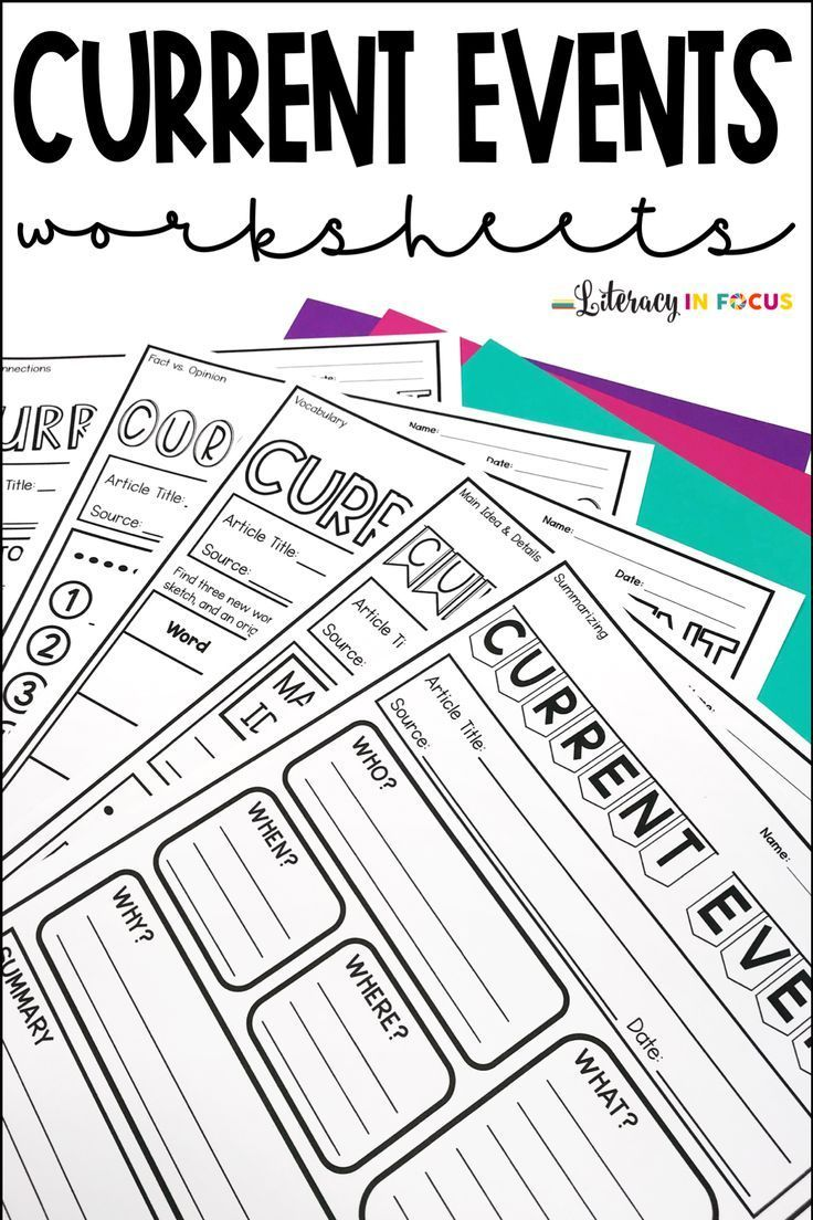 Five Different Worksheets For Current Events Reports Each Worksheet Focuses On A Different Current Events Worksheet Social Studies Curriculum Current Events [ 1104 x 736 Pixel ]