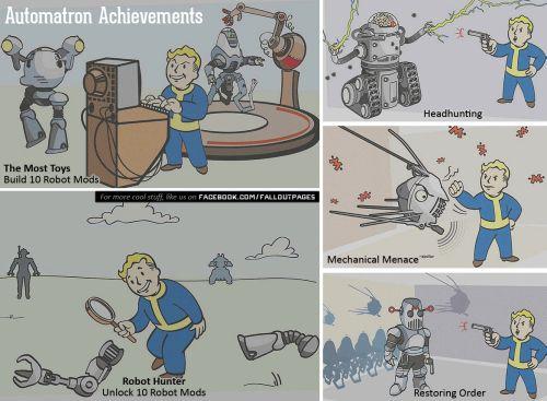 [SPOILER WARNING] Leaked Automatron Achievements via Fallout Hubon Facebook fallout 4 fallout 4 dlc fallout automatron fallout 4 add-ons