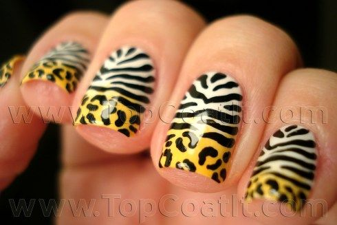 Leopard-Zebra-Gradient nail polish manicure at Top Coat It!