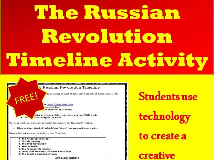 Russian Revolution Interactive Timeline Project - FREE! Your students will be engaged in this fun and interactive activity. Students will create an interactive Timeline of the major events of the Russian Revolution using timeglider.com. TES