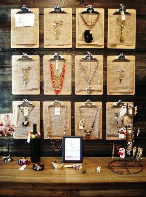 Winter Vegas Market Retail Design idea - clipboards as display #visualmerchandising #visual #display