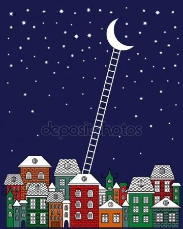 Скачать - На Луну и обратно векторные иллюстрации. Старый город, ночное небо, лестницы на Луну на синем фоне. Поздравительная открытка ночной город иллюстрации дизайн — стоковая иллюстрация #86072918