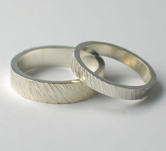 Textured Wedding Rings. www.fluidity-design.co.uk