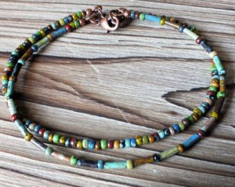 Bohemian Anklet Featuring Picasso Seed and Bugle by ABitOfNature