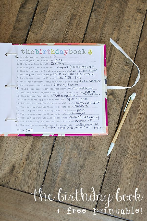The Birthday Book, and easy way to capture your child each year on his/her birthday.  Free printable included!