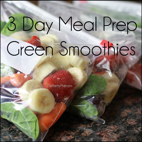 3 Day Breakfast Meal Prep: Green Smoothies ...great idea for me to save time in the morning which equals more time to sleep ^_^
