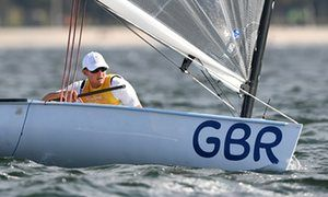 Scott competing in the Finn medal race on Guanabara Bay.