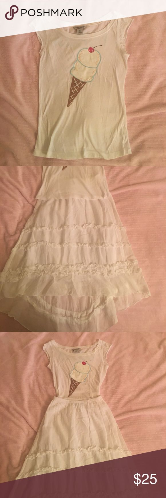 Kids- Adorable ice cream tee and long white skirt Kids, (girls) ice cream tee by guess jeans sz. Sm. About 7-10 and long ruffled skirt, longer in back by une, deux , trois. So adorable maybe worn once, no stains, holes or pulld, looks brand new on deux trois Matching Sets