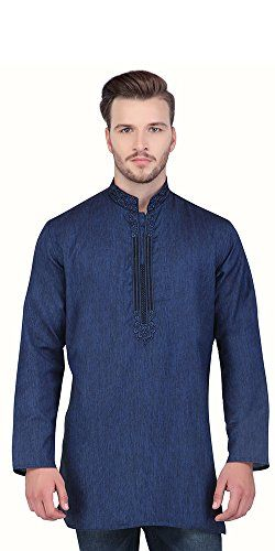 Shatranj Men's Indian Mid-Length Kurta Tunic Fine Embriodered Banded Collar Shirt; Blue; MD Shatranj