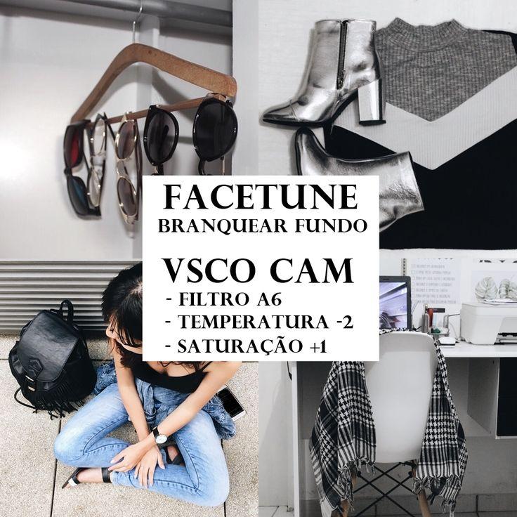Como edito minhas fotos - usando o app VSCO Cam e Facetune (Ou AirBrush que é de graça, têm a mesma função de branquear o fundo) Pinterest: blogdamanddys