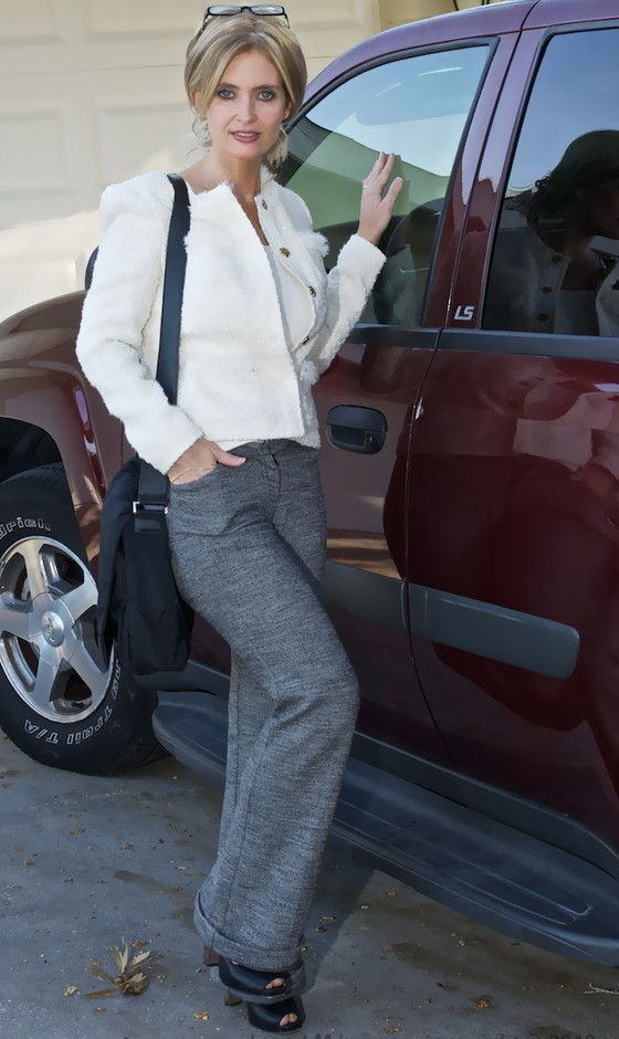 @roressclothes clothing ideas #women fashion white jacket, gray trousers Voguish Work Clothes for Office Ladies