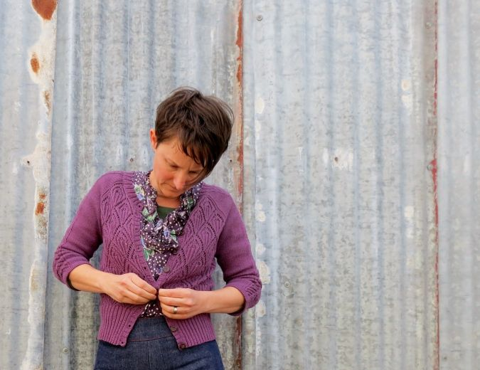 Winter Lace Cardigan by Simona Marchent-Dest in Patons Bluebell
