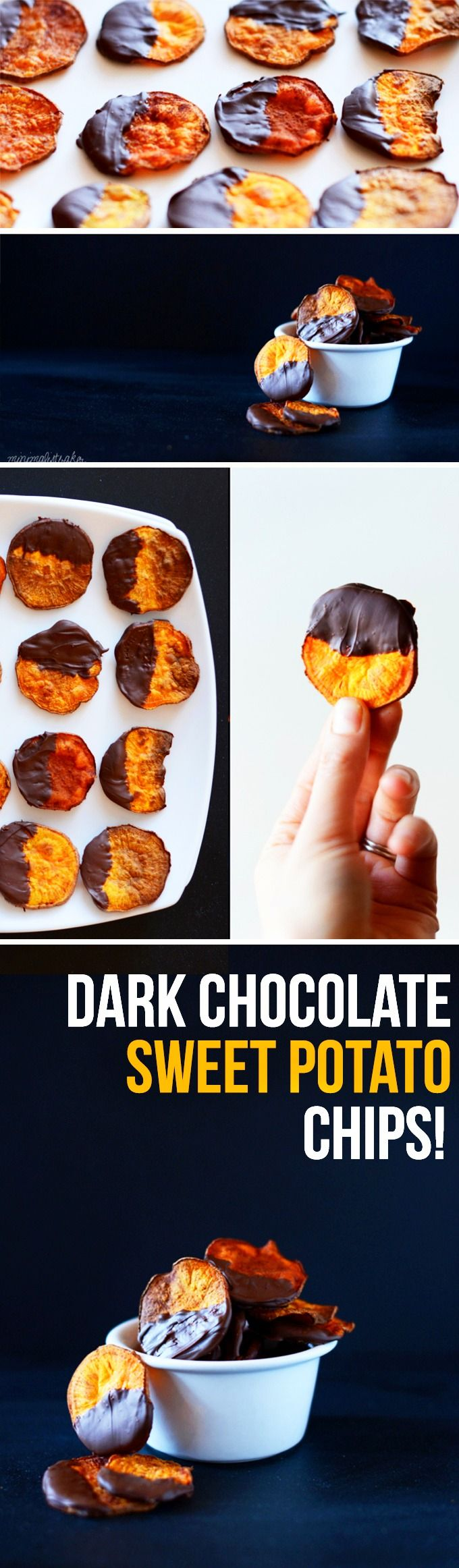 AMAZING 5-ingredient baked sweet potato chips dipped in a crunchy dark chocolate shell! Perfect for snacking or an antioxidant-rich dessert! #vegan #glutenfree