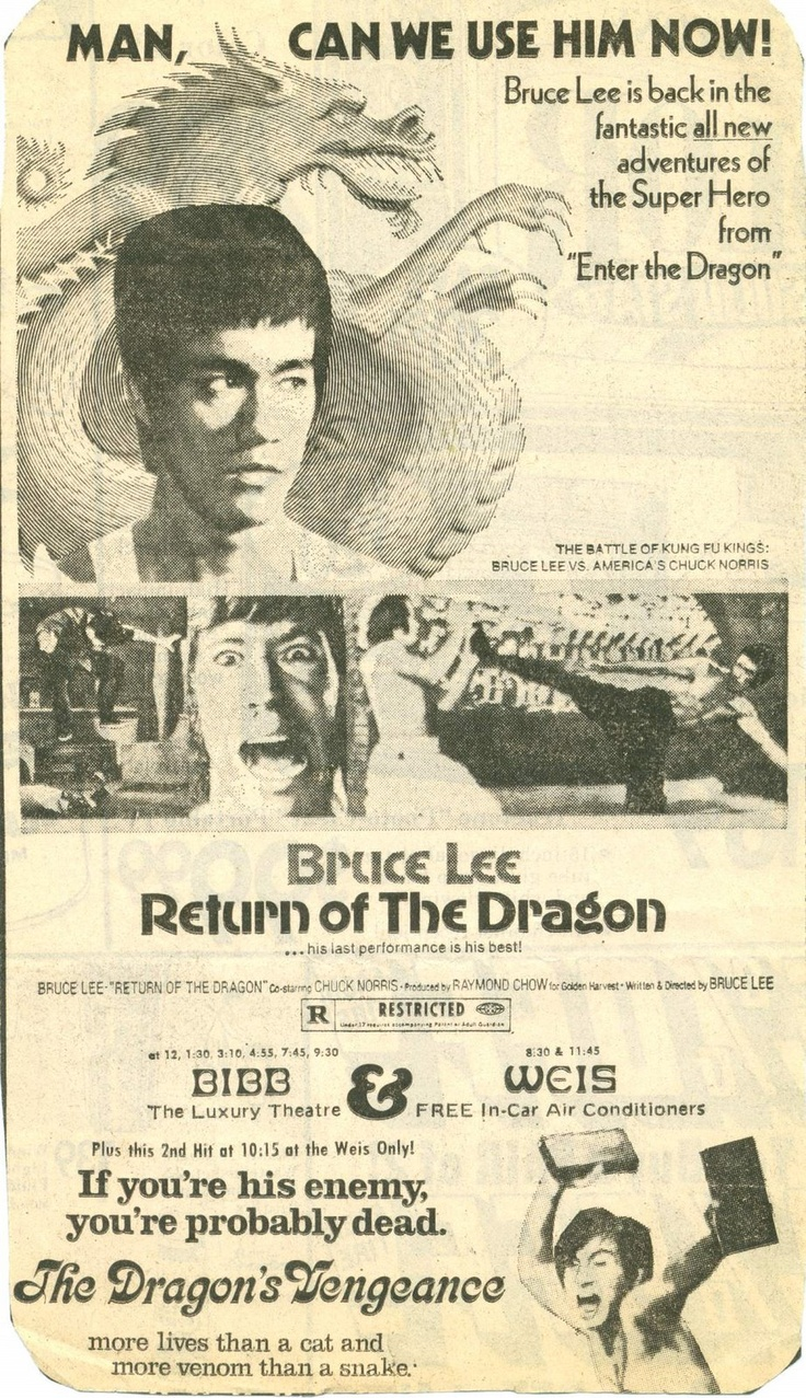 Serious Little Dragon mistake on this poster. Return Of The Dragon or Way Of The Dragon in Europe, was made in 1971 or 72 (I think 71) 2 years before Enter The Dragon even though it is written on some sites as being later.... Sorry, incorrect! Maff