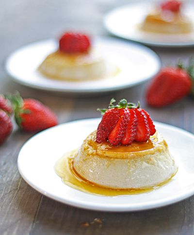 Strawberry Flan {regular and lactose-free versions}, from The Wicked Noodle